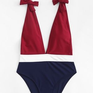 Other - Red White and Blue Plunging One Piece